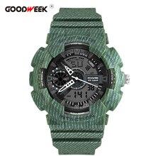 GOODWEEK New Cowboy Sport Watch Men Chronograph Electronic Waterproof Digtial Quartz Dual Display Watches Reloj Hombre
