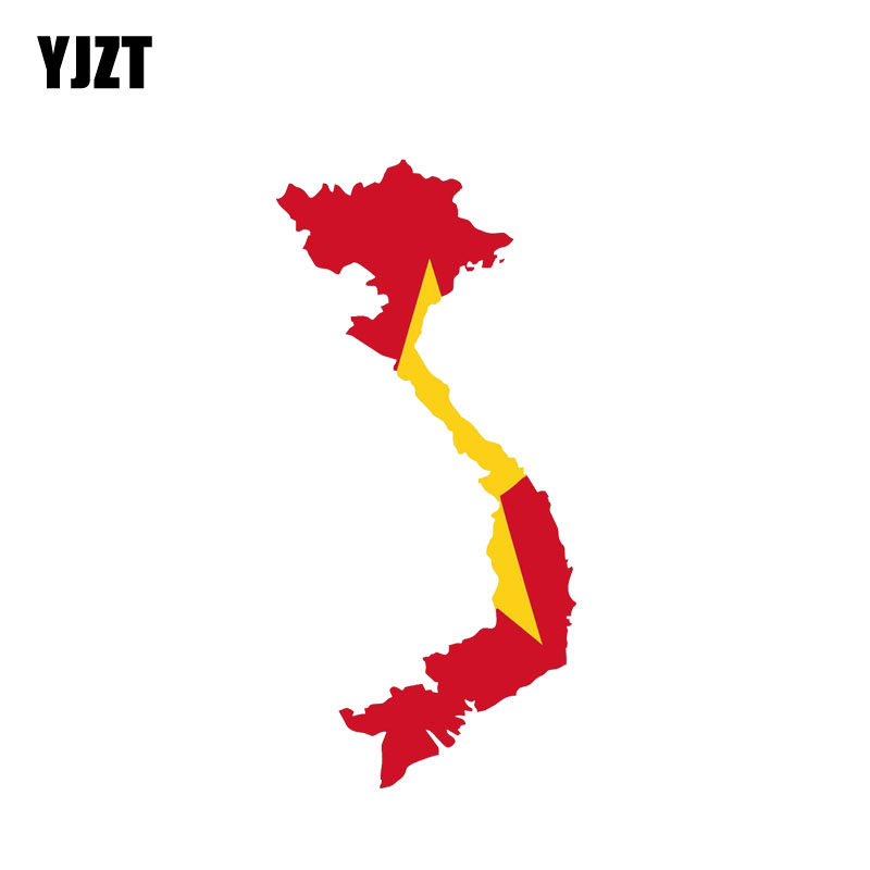 YJZT 7CM*14.3CM Personality Vietnam Map Flag Car Sticker Reflective Decal 6-0885