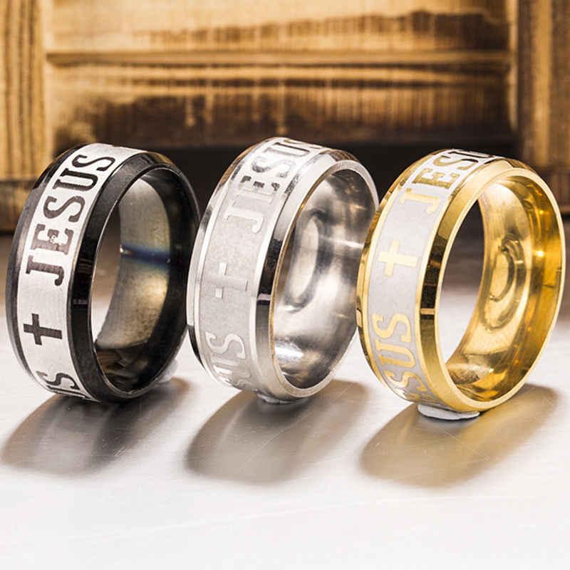 Euramerican แหวนผู้ชายผู้หญิงพระเยซู CROSS สแตนเลสสตีลด้วยตัวเอง GLOW In Dark สีดำแหวนขายส่งเครื่องประดับ