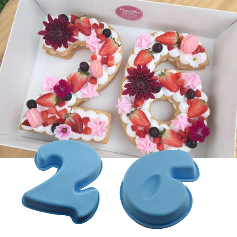 10inch 0 9 Number Silicone Digital Cake Mold DIY Numbers Shaped Mousse Chocolate Mould