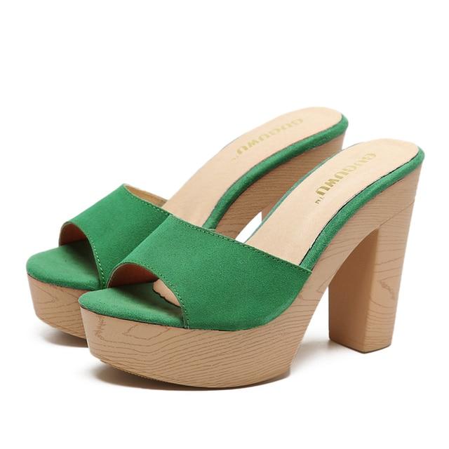 c5d3767bfa Mulheres Sandália Sapatos Plataformas 12 cm Plataforma Aleta Salto Alto  Chinelos Tamancos Sapatos Chinelos Moda Verão