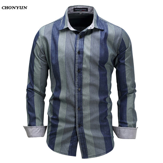 d66daffc43a32 2019 New Men Shirt Military Long Sleeve Mandarin Collar Slim fit Camisa  Masculina Blue Casual Shirt High Quality Summer Shirts