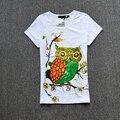 Teste padrão da coruja dos desenhos animados das mulheres t-shirt básica de manga curta-