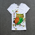 Women's cartoon owl pattern short-sleeve basic t-shirt