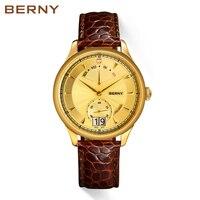 Berny для мужчин часы 18 К Золото Бизнес Роскошные повседневные часы Relogio masculino Montre Erkek reloj hombre Kol saati Швейцарский двигаться для мужчин T