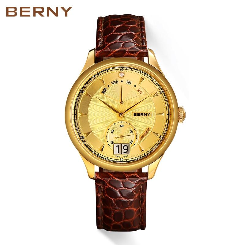 Berny Men Watch 18K 골드 비즈니스 럭셔리 쿼츠 시계 - 남성 시계