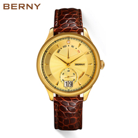 Berny Men Watch 18K Gold Business Luxury Quartz Watches Relogio masculino Montre Erkek reloj hombre kol saat Swiss MOVEMENT