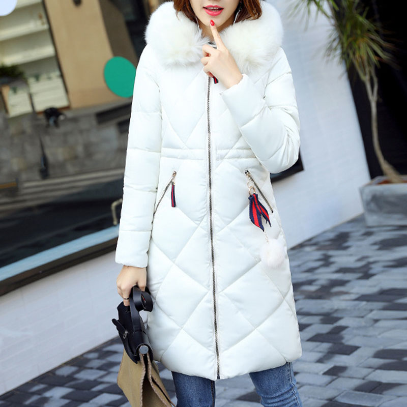 2017 High Quality Winter Women Long Down Jacket Plus Size Fur Collar Parka Puffer Thick Hooded Jacket For Women Outwear Coats