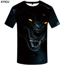 KYKU Wolf T shirt Women Metal Plus Size Cool Tshirt Animal Clothes 3d T-shirt Tops Womens Printed Funny Fitness New