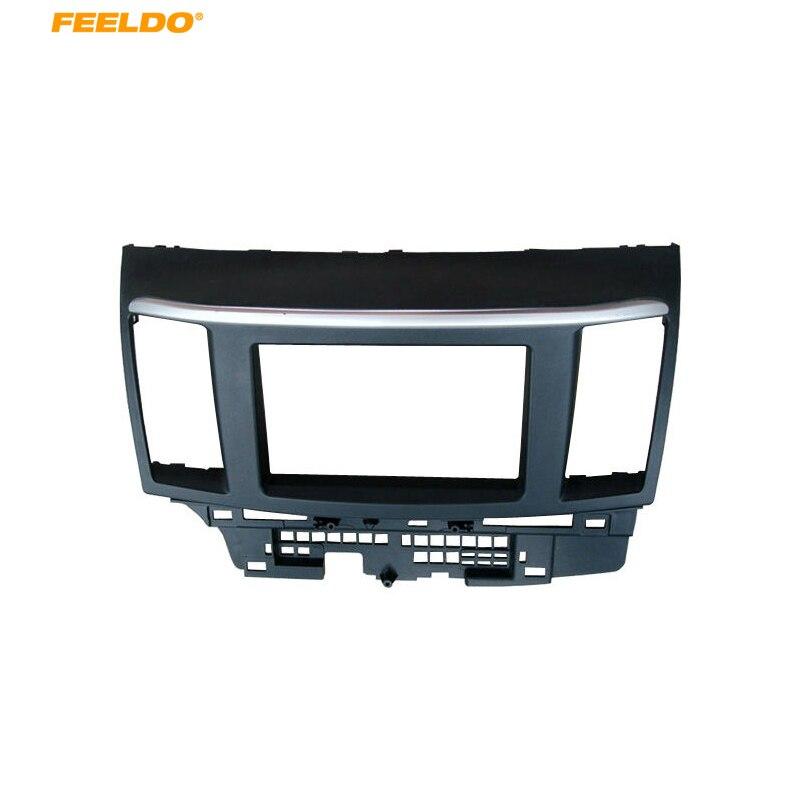 FEELDO 2Din Fascia pour Mitsubishi Lancer Fortis Radio DVD stéréo panneau tableau de bord Installation de montage kit d'outils pour habillage Face cadre