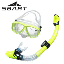 SBART Water Sports Training Snorkeling Swimming Glasses Equipment Anti-Fog Silicone Scuba Diving Mask Goggles Full-dry Snorkel