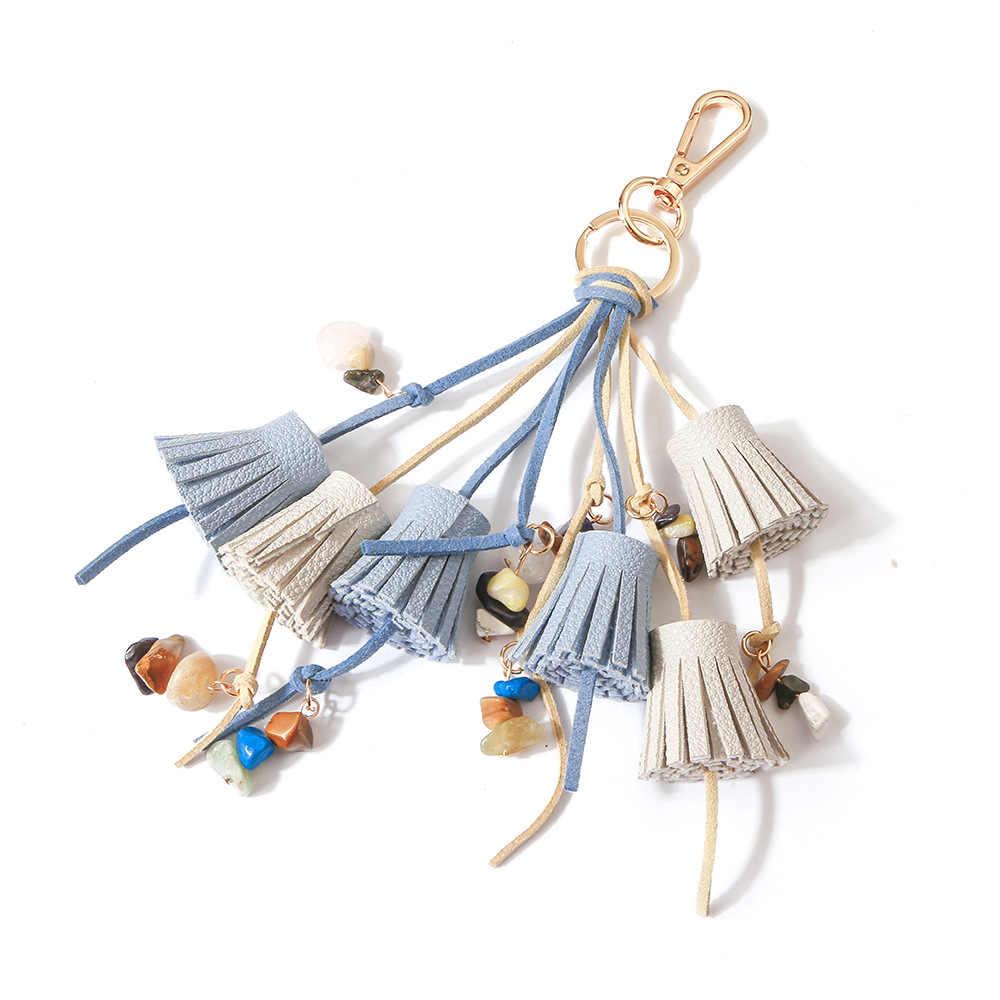2019 Phong Cách Bohemian mới handmade nhiều lớp da màu xanh dương tua rua móc khóa nữ, túi khóa có mặt trang sức đơn giản quà Tặng