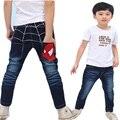 DK0040 Бесплатная доставка человек-паук дизайн мальчиков джинсы мультфильм детские штаны детей брюки для весны и осени оптом и в розницу
