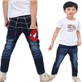 DK0040 Free shipping spiderman design boys jeans cartoon children pants kids trousers for spring and autumn wholesale and retail