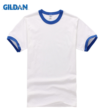 GILDAN New Style Rock Summer Men T Shirt Short Sleeve Tops Tees Casual White With Contrast Collor And Sleeves Shirts For