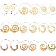 2019 Fashion Women Ladies Exaggerated Vortex Gear-shaped Earrings Irregular Geometric Metal Earrings Round Spiral Earrings(China)