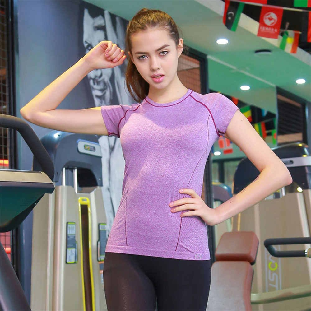 ALBREDA Women Breathable Yoga T-shirt Gym Workout Tees Summer Fitness Running Sports Shirt Clothing Female Quick dry Sportswear