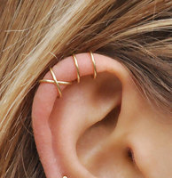 Set Of 2 Earrings Handmade No Piercing Double And Criss Cross Ear Cuff Simple Fake Cartilage