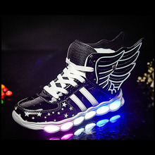 Children Shoes Light Led luminous Shoes Boys Girls USB Charging Sport Shoes Casual Led Shoes Wing Kids Glowing Sneakers tutuyu glowing sneakers kids luminous sneakers colorful boys shoes led lights children shoes casual flat girls boy shoes lx 887
