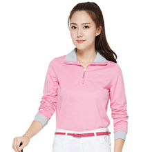 TTYGJ Women's Golf Shirts Apparel Autumn Long Sleeve Polo Shirt Coat Comfortable and Soft Pink