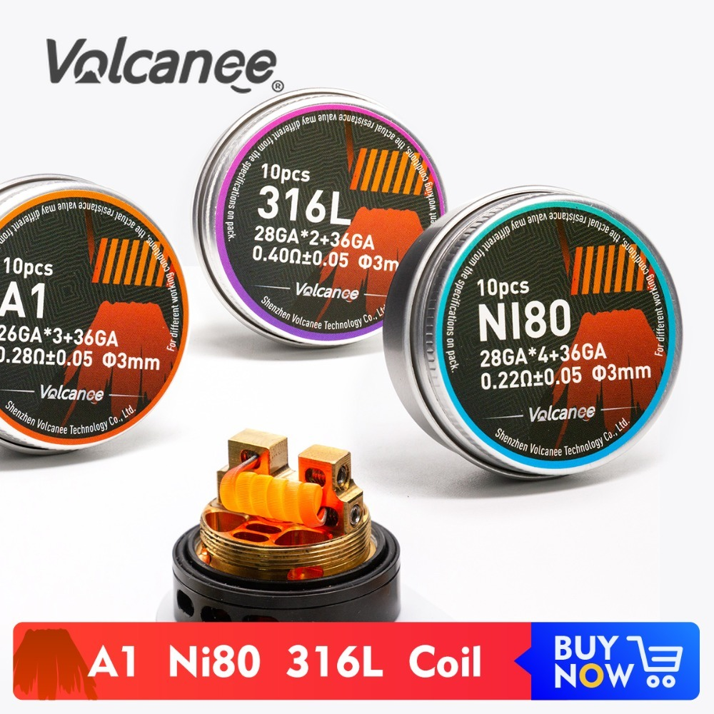 Volcanee 10pcs Alien Clapton Fused Clapton Coil Wire Prebuilt Coil NI80 SS316L A1 Premade Wrap Coil DIY RDA Heating Resistance