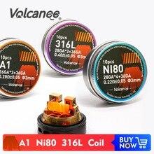 Volcanee 10 Uds alienígena Clapton fundido alambre de la bobina precompilados de NI80 SS316L A1 Premade bobina de DIY RDA resistencia al calentamiento