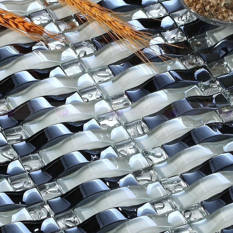 Hot sale Arched iridescence crysatl glass mosaic tile for kitchen backsplash  bathroom wall tile DIY home decoration
