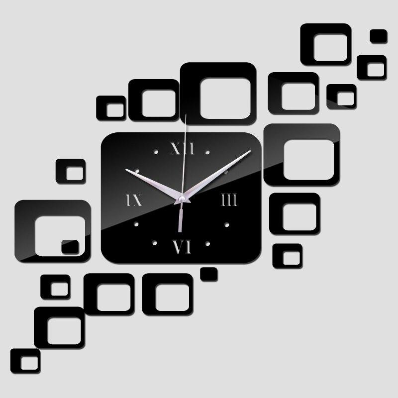 2019 Fashion Wall Clock Big Size DIY Acrylic Mirror Wall Clocks Sticker Modern Home Decor Quartz Mechanism Clock Needles