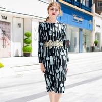 Women Long Sleeved Dress 2018 Early Autumn New O Neck Embroidered Print Hot Fix Rhinestone Slim Elegant Dress Midi S XL