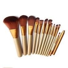 Здесь можно купить  Pro 12Pcs Bamboo Handle Makeup Brushes Set kits Powder Foundation Eyebrow Facial Multifunction Makeup Brushes