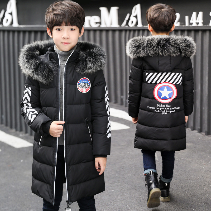 Winter Boy Jacket 2017 New Personality Children In Boys' Winter Jacket In The Long Coat's Star new balance x social status cm1600 winter in the hamptons