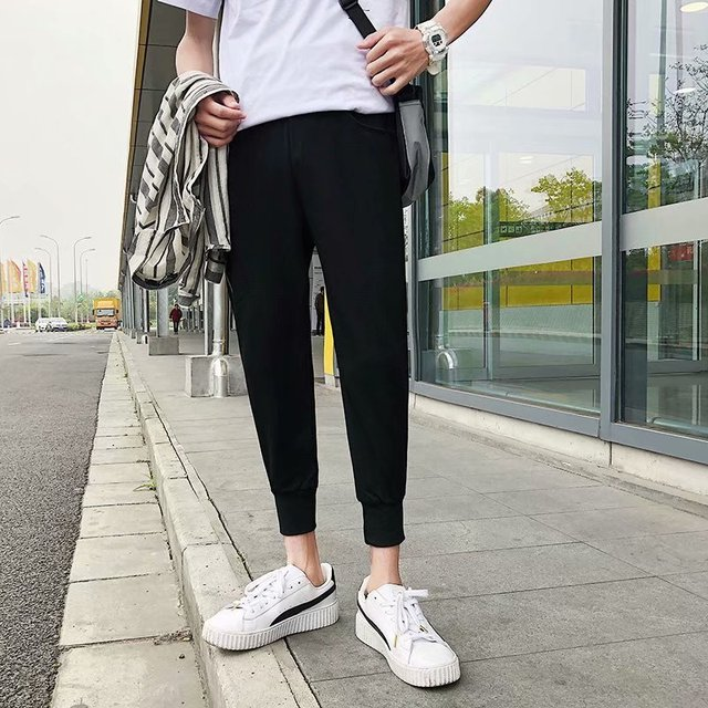 Loose Men's Pants Solid Cool Outdoor Streetwear Fashion Pants New Male Summer Soft Pants 11