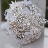 7 inch custom bridal bouquet,White wedding bouquet brooches, pearls, rhinestones lace bouquet, bridesmaids holding flowers