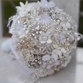 7-pulgadas personalizado ramo de novia, ramo broches de boda Blanco, perlas, diamantes de imitación de encaje bouquet, damas de honor que sostiene las flores