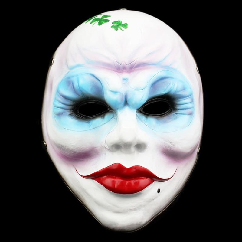 Nouveau Jour de Paie 2 Masques Trèfle Résine Femelle Masque 2017 Chaude Rouge Plein Visage de Partie de Mascarade accessoires pour halloween Masques D'horreur