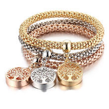 3 Pcs/Set Tree of Life Owl Charm Bracelets & Bangles Gold/Silver Plated Elephant Anchor Pendants Rhinestone Bracelets For Women(China)