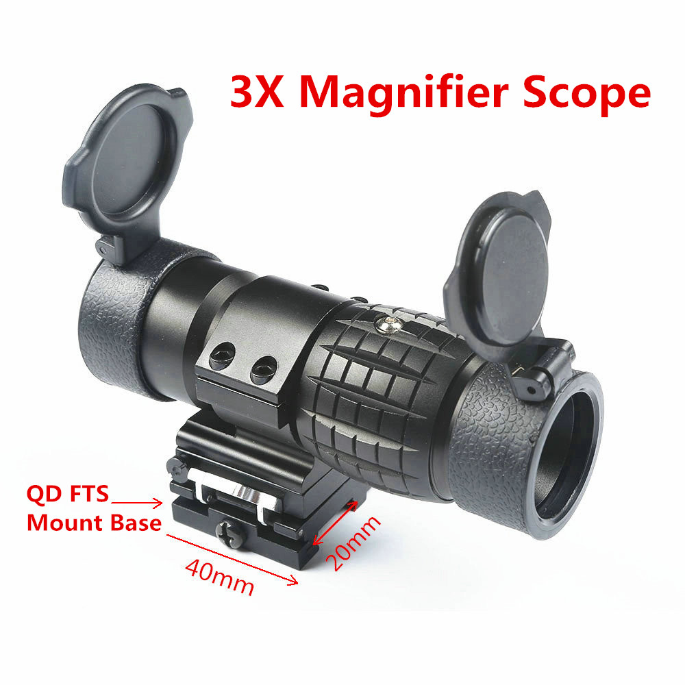 3X Magnifier Sight Scope Quick Release W/Picatinny 20mm Rail Flip Flip-up Mount to Side Mount for Sniper Rifle Airsoft Hunting free shipping 20mm rail tactical 4x magnifier quick flip scope w flip to side mount fit for holographic sight