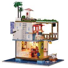 IiE SCHAFFEN Puppenhaus K038 Meer Post Station Miniatur DIY Kit Mit Lichter Und Staub Abdeckung