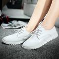 2016 новые женские квартиры свободного покроя туфли на шнурках женщины из натуральной кожи белого мокасины туфли-loafers sapatos femininos sapatilha