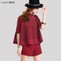 2015 Spring New Euro Casual Fashion Temperament Thin Stand Collar Tops And Shorts 2 Piece Set