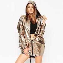 2016 Punk Rock European Dance Wear Casual Outerwear Chaquetas Mujer New Fashion Gold Jacket Women Hooded Zipper Up
