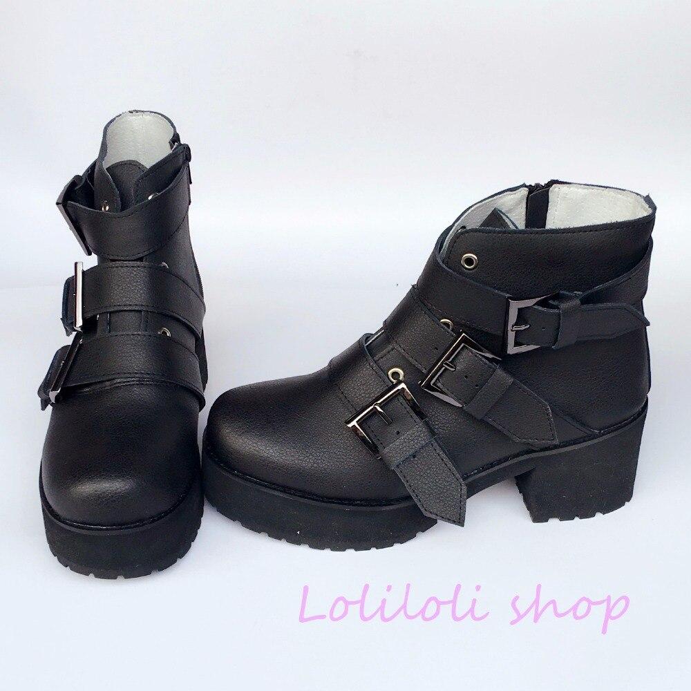 Princess sweet shoes loliloli yoyo Japanese design custom genuine leather cool short black buckle strap high heel boots 6680
