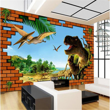 Beibehang 3d room wallpaper custom muurschildering niet-geweven muur sticker 3 d bakstenen muur dinosaur era schilderen foto behang voor(China)