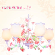 European-style garden living room Romantic Restaurants white wrought iron pink ceramic flowers glass lampshade pendant Lamp c186(China)