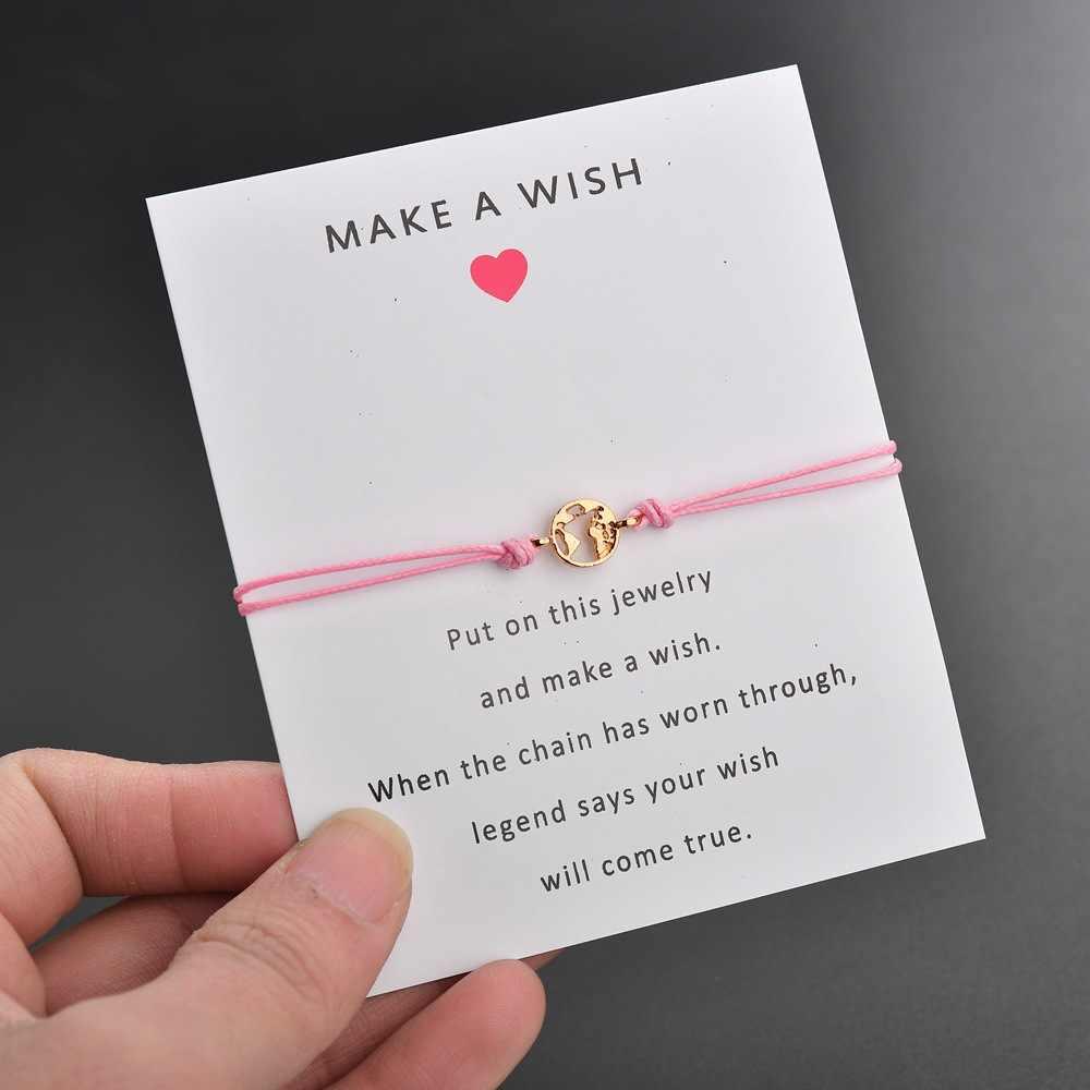 2019 nowy zrobić karta życzeń regulowana bransoletka romantyczny 7 kolorów rope chain złoty kolor mapa ziemi okrągły bransoletka z wisiorkiem kobiet