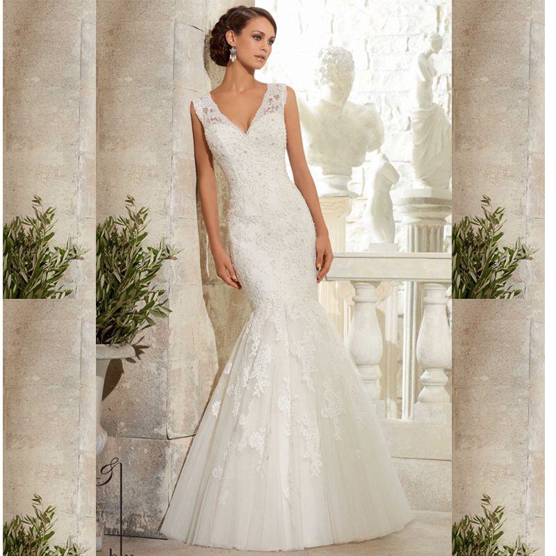 2016 Trumpet Like Wedding Dresses Fitted Wedding Dress Tulle