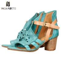 Prova Perfetto в богемном стиле Высокие каблуки sandalen Dames Настоящее sheepkin Открытым Носком Дамы Сандалии для девочек Для женщин летние туфли с ремешк