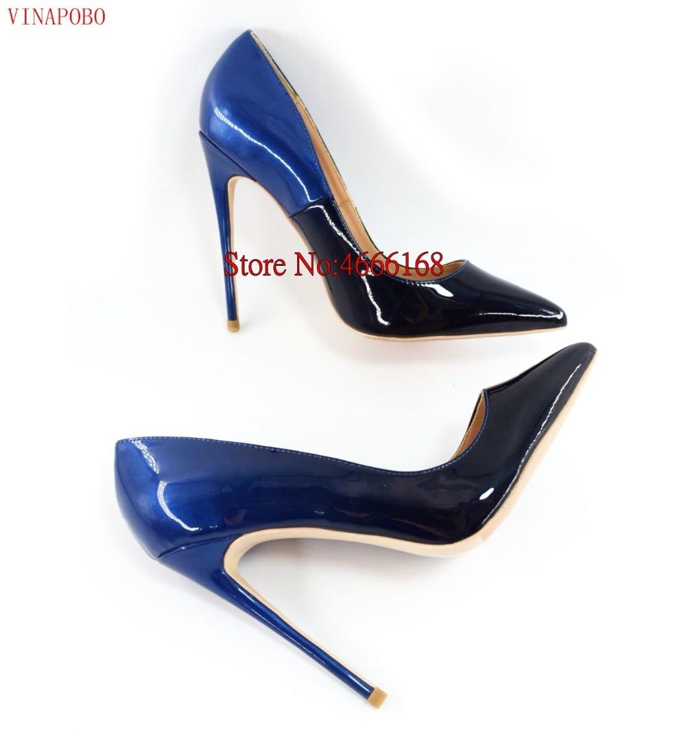 Brand Shoes Woman High Heels Pumps High Heels 12CM Women Shoes Wedding Shoes Pumps Black Blue Gradient color Shoes Stiletto Heel