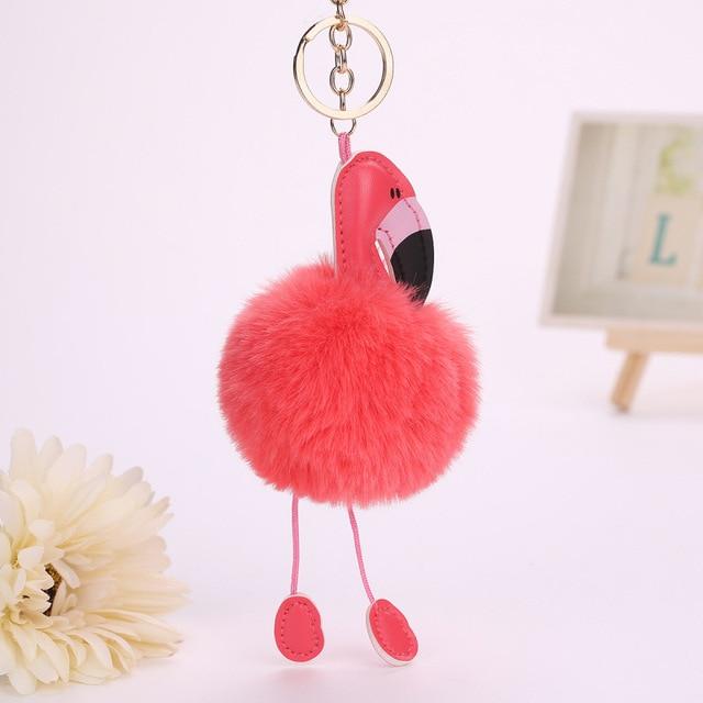 Flamingo 1 pcs Laranja Vermelho Fofo Falso Pele De Coelho Bola Pompom Keychain Car Chaveiro Chaveiro Pom Pom Mulheres Saco Titular jóias