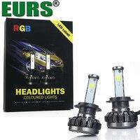 EURS TM 2pcs Rgb H7 H1 H11 9005 9006 6000k Waterproof Super Bright Led Headlight Bulb
